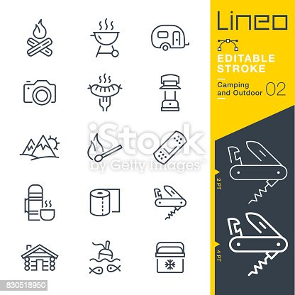 istock Lineo Editable Stroke - Camping and Outdoor outline icons 830518950