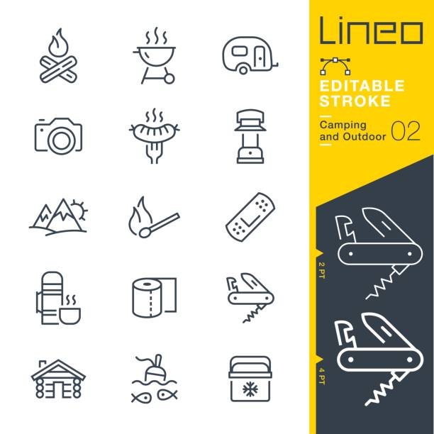 lineo editable stroke - camping and outdoor outline icons - log cabin stock illustrations, clip art, cartoons, & icons