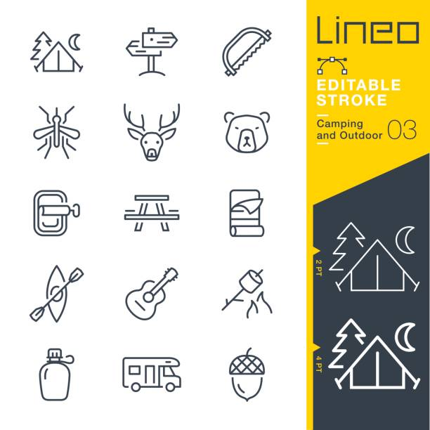 lineo editable stroke - camping and outdoor outline icons - wildlife travel stock illustrations, clip art, cartoons, & icons