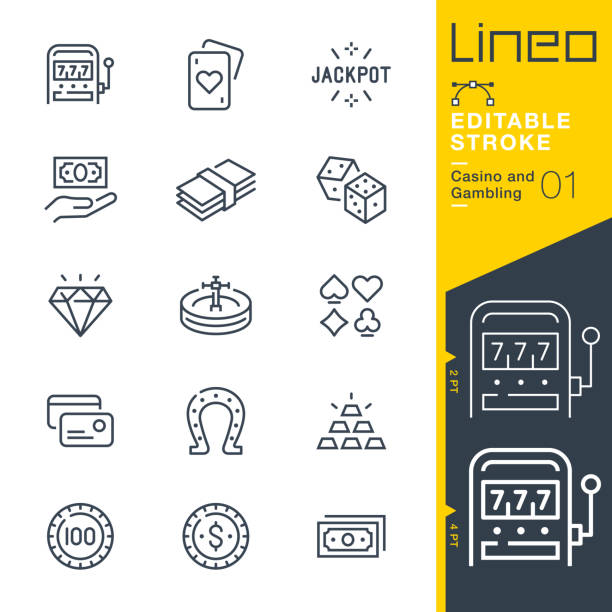Lineo Editable Stroke - Casino and Gambling line icons Vector Icons - Adjust stroke weight - Expand to any size - Change to any colour gambling stock illustrations