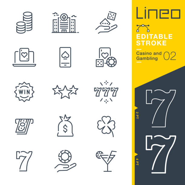 Lineo Editable Stroke - Casino and Gambling line icons Vector Icons - Adjust stroke weight - Expand to any size - Change to any colour casino stock illustrations