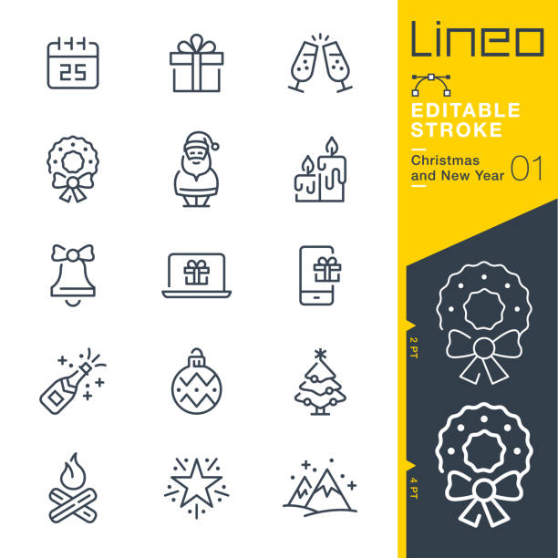 Lineo Editable Stroke - Christmas and New Year line icons Vector Icons - Adjust stroke weight - Expand to any size - Change to any colour christmas icons stock illustrations
