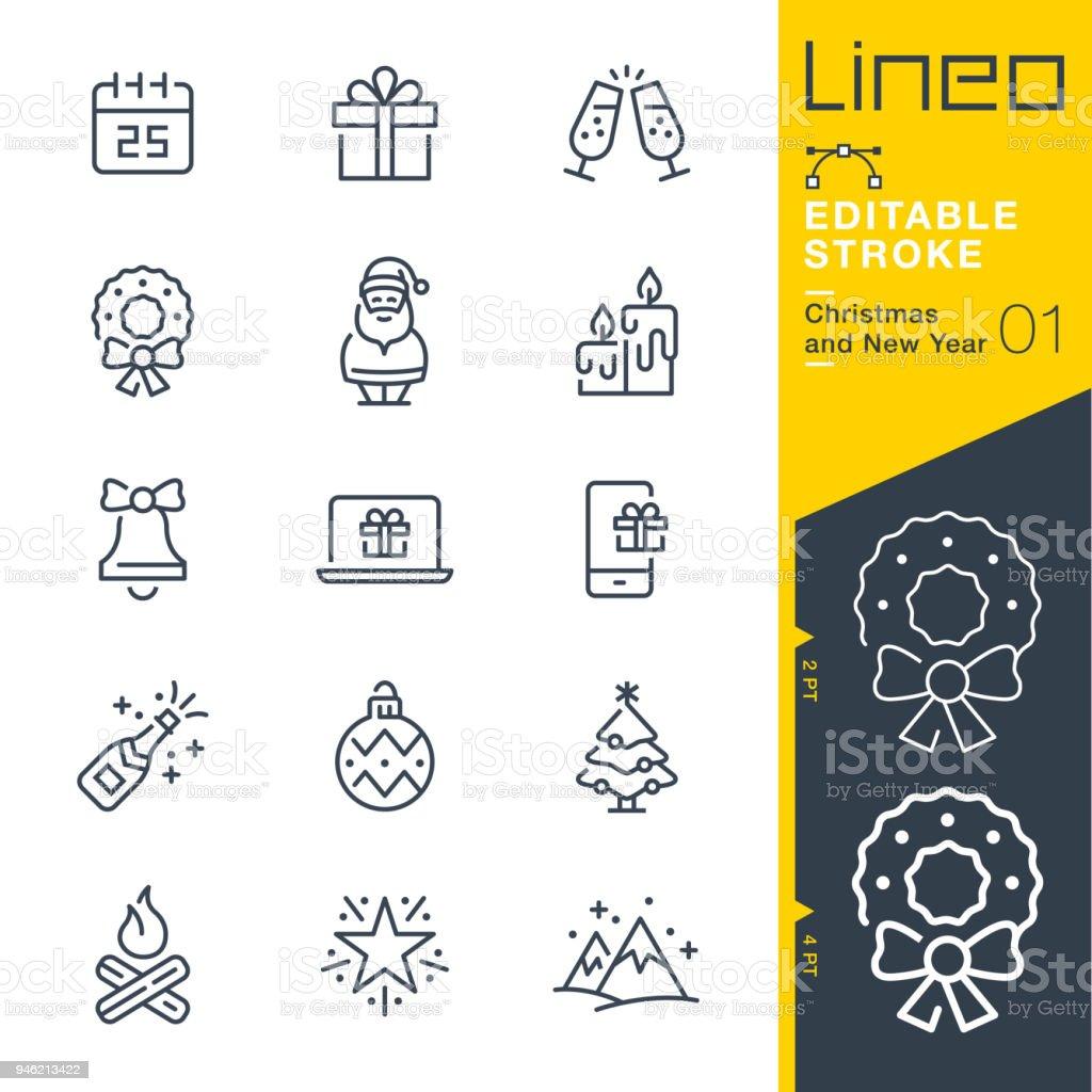 Línea de trazo Editable Lineo - Navidad y año nuevo los iconos - ilustración de arte vectorial