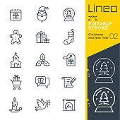 Lineo Editable Stroke - Christmas and New Year line icons