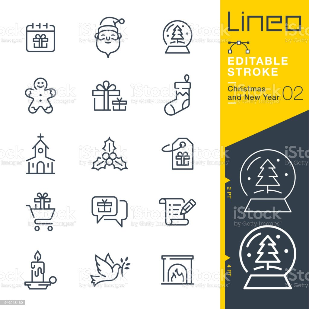 Lineo Editable Stroke - Christmas and New Year line icons vector art illustration