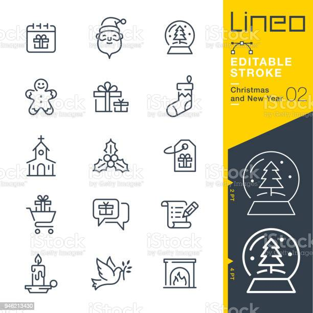 Lineo Editable Stroke Christmas And New Year Line Icons Stock Illustration - Download Image Now