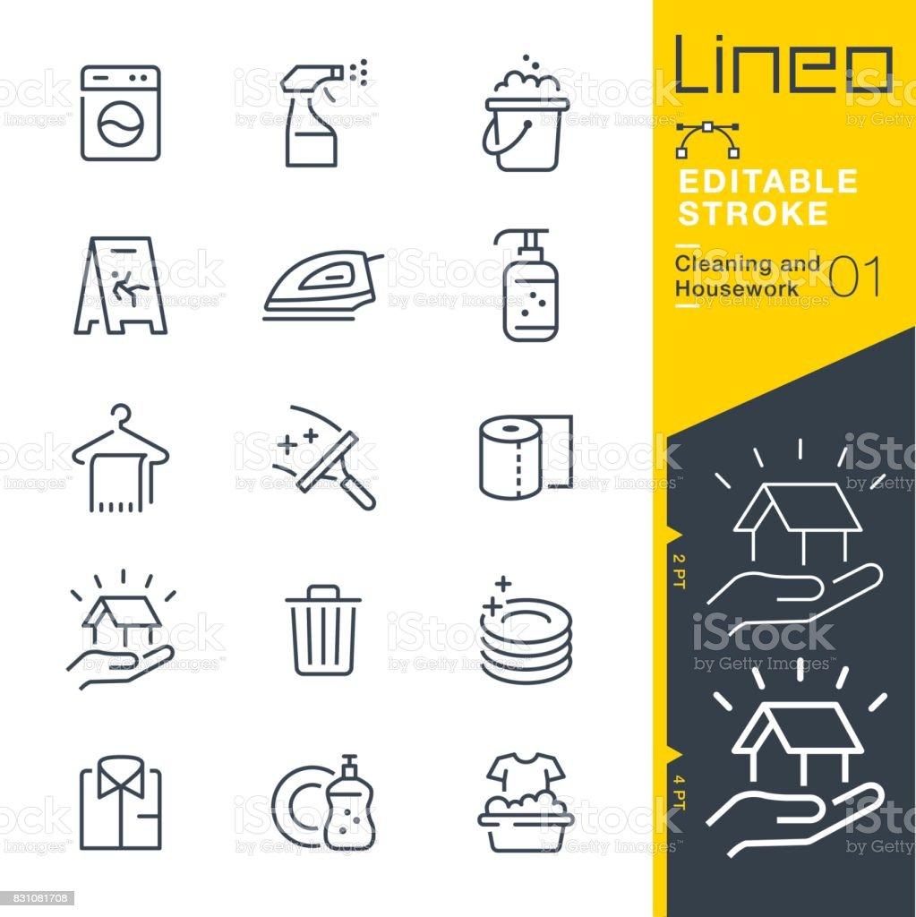 Lineo editierbare Schlaganfall - Reinigung und Hausarbeit Linie Symbole – Vektorgrafik
