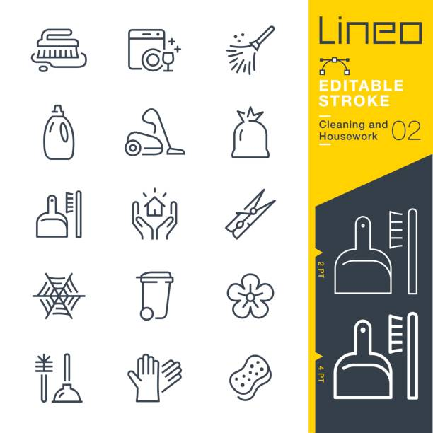 Lineo Editable Stroke - Cleaning and Housework line icons vector art illustration