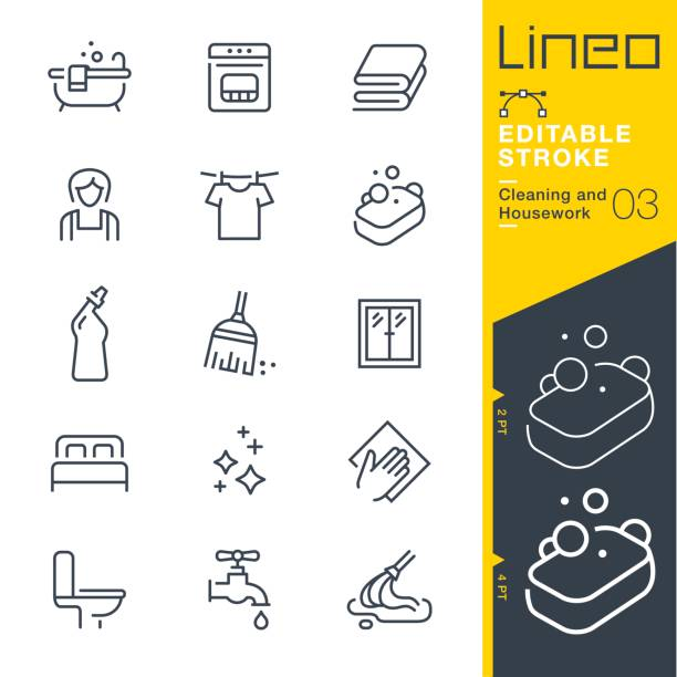 lineo editable stroke - cleaning and housework line icons - bed stock illustrations