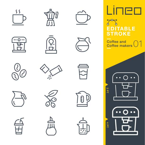 lineo editable stroke - coffee line icons - barista stock illustrations, clip art, cartoons, & icons