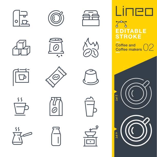Lineo Editable Stroke - Coffee line icons vector art illustration