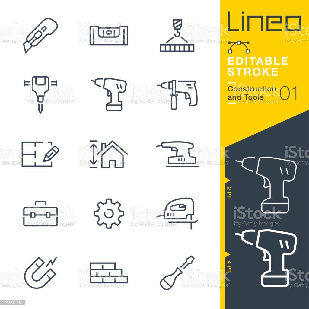 Lineo modifiable AVC - Construction et outils line icônes - Illustration vectorielle