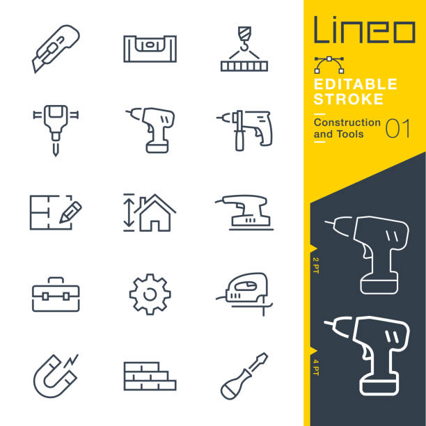 lineo editable stroke - construction and tools line icons - architecture symbols stock illustrations