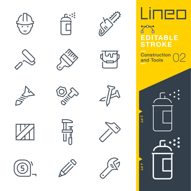 Lineo Editable Stroke - Construction and Tools line icons Vector Icons - Adjust stroke weight - Expand to any size - Change to any colour paint can stock illustrations