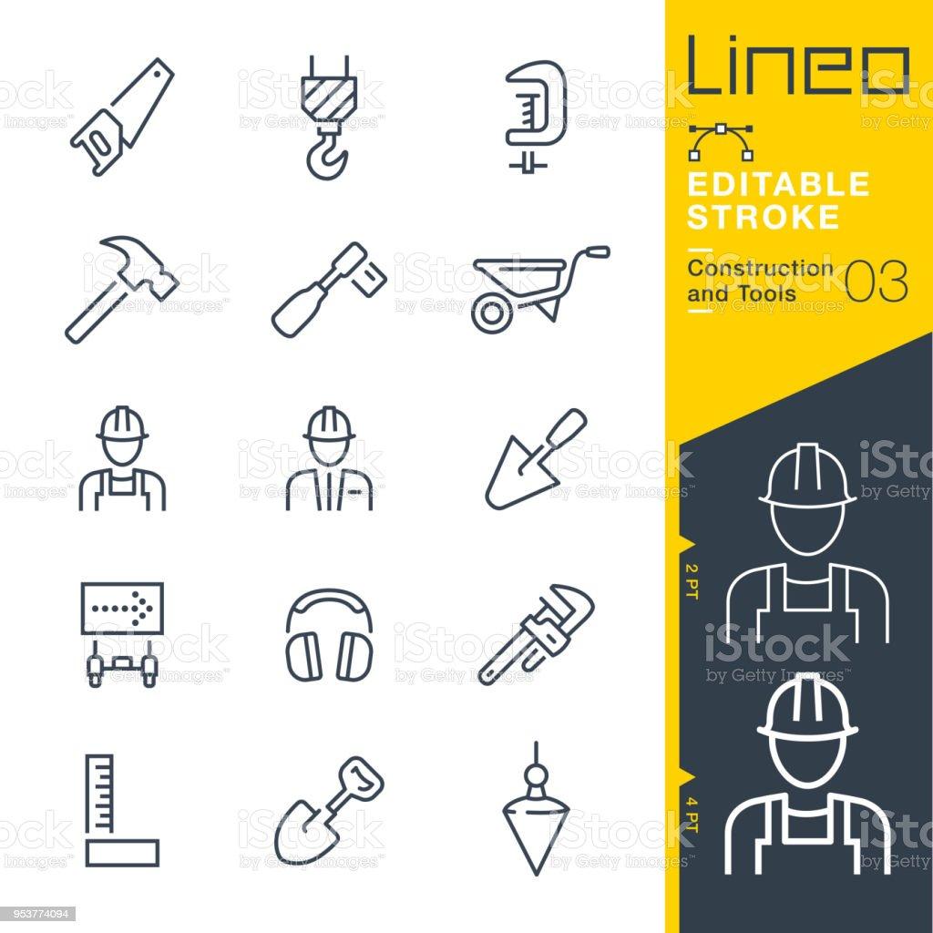 Lineo 編集可能なストローク - 建設とツール線アイコン ロイヤリティフリーlineo 編集可能なストローク 建設とツール線アイコン - ねこ車のベクターアート素材や画像を多数ご用意
