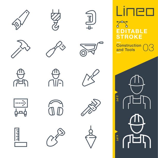 Lineo Editable Stroke - Construction and Tools line icons Vector Icons - Adjust stroke weight - Expand to any size - Change to any colour gardening equipment stock illustrations