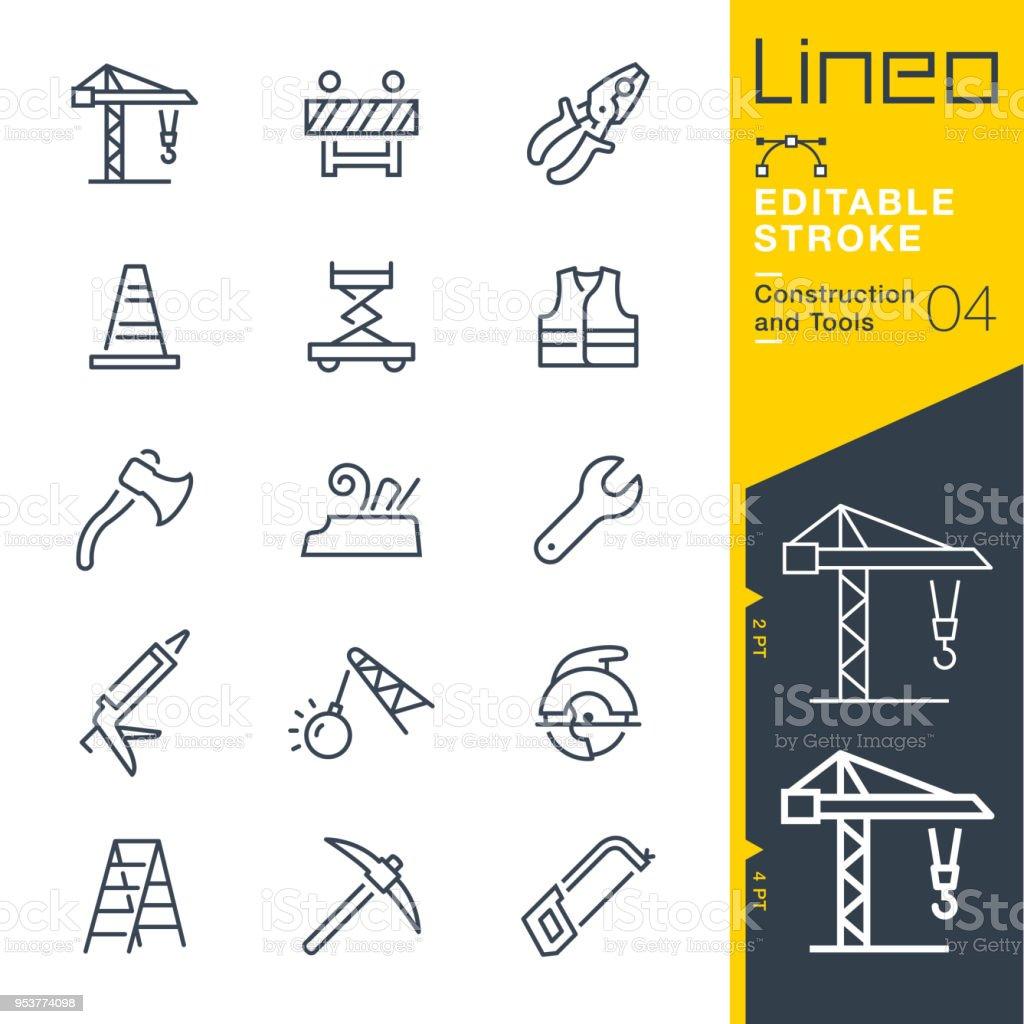 Lineo editierbare Schlaganfall - Bau und Werkzeuge Linie Symbole – Vektorgrafik