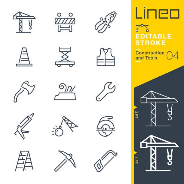 Lineo Editable Stroke - Construction and Tools line icons Vector Icons - Adjust stroke weight - Expand to any size - Change to any colour demolished stock illustrations
