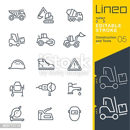 istock Lineo Editable Stroke - Construction and Tools line icons 953774114