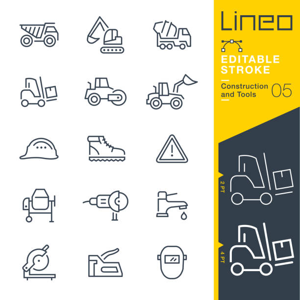 Lineo Editable Stroke - Construction and Tools line icons Vector Icons - Adjust stroke weight - Expand to any size - Change to any colour stapler stock illustrations