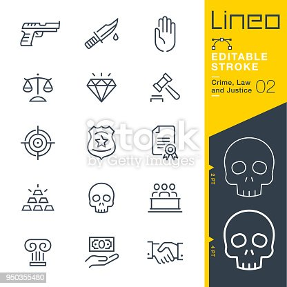 istock Lineo Editable Stroke - Crime, Law and Justice line icons 950355480