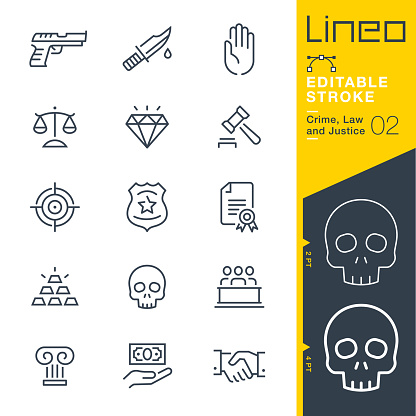 Lineo Editable Stroke Crime Law And Justice Line Icons Stock Illustration - Download Image Now