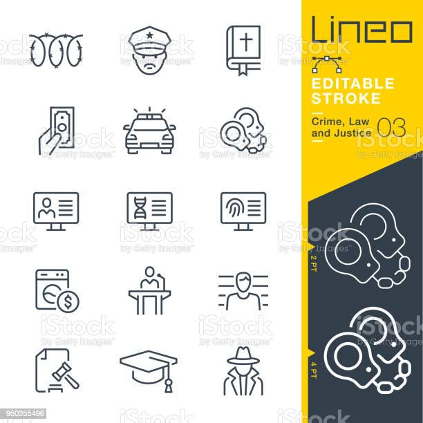 Lineo editable stroke crime law and justice line icons vector id950355496?b=1&k=6&m=950355496&s=612x612&h=8uusitrwt0bldpohrjqypfe9sx4arr1jukrqapawkka=
