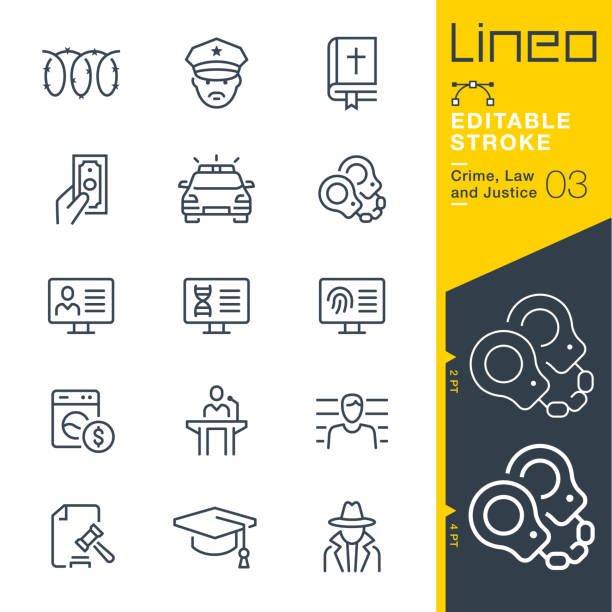 Lineo Editable Stroke - Crime, Law and Justice line icons Vector Icons - Adjust stroke weight - Expand to any size - Change to any colour crime stock illustrations
