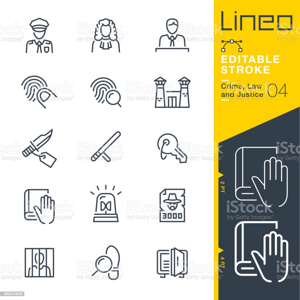 Lineo Editable Stroke - Crime, Law and Justice line icons vector art illustration