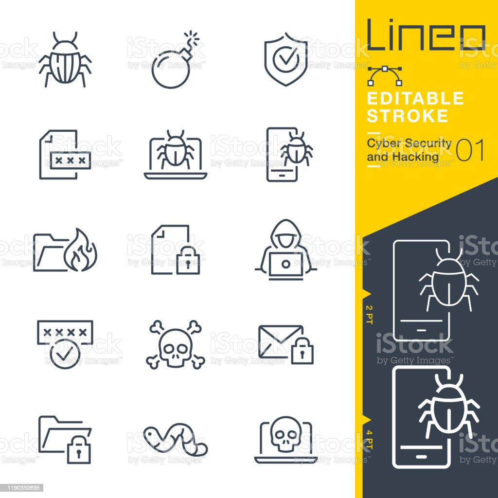 Lineo Editable Stroke - Cyber Security and Hacking outline icons - Векторная графика Антивирус роялти-фри