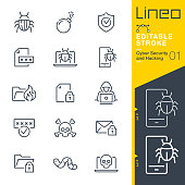 istock Lineo Editable Stroke - Cyber Security and Hacking outline icons 1190350695