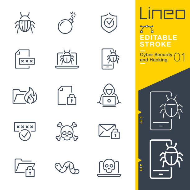 Lineo Editable Stroke - Cyber Security and Hacking outline icons Vector icons - Adjust stroke weight - Expand to any size - Change to any colour computer hacker stock illustrations