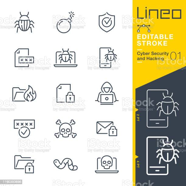 Lineo Editable Stroke Cyber Security And Hacking Outline Icons — стоковая векторная графика и другие изображения на тему Антивирус