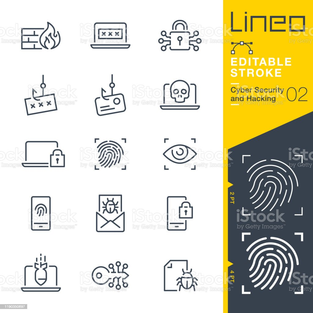Lineo Editable Stroke - Cyber Security and Hacking outline icons Vector icons - Adjust stroke weight - Expand to any size - Change to any colour Antivirus Software stock vector