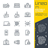 istock Lineo Editable Stroke - Cyber Security and Hacking outline icons 1190350697