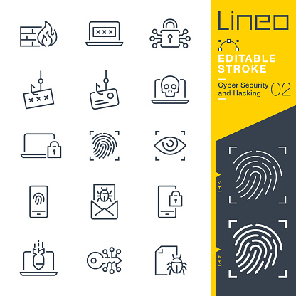 Lineo Editable Stroke Cyber Security And Hacking Outline Icons Stock Illustration - Download Image Now