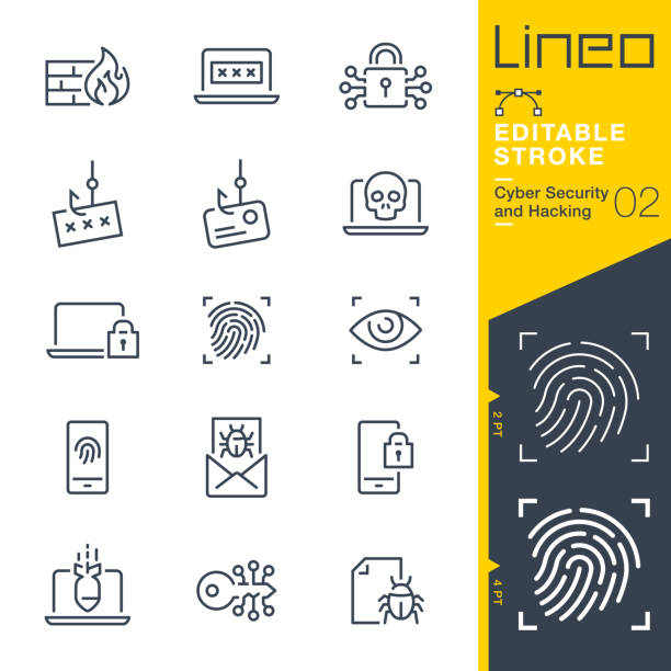 Lineo Editable Stroke - Cyber Security and Hacking outline icons Vector icons - Adjust stroke weight - Expand to any size - Change to any colour cybersecurity stock illustrations