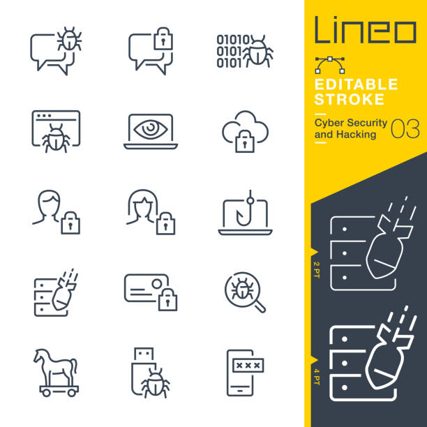 Lineo Editable Stroke - Cyber Security and Hacking outline icons vector art illustration