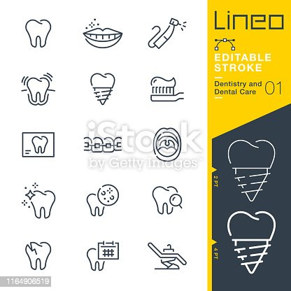 istock Lineo Editable Stroke - Dentistry and Dental Care line icons 1164906519