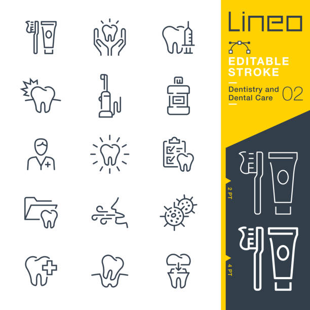 illustrazioni stock, clip art, cartoni animati e icone di tendenza di lineo editable stroke - dentistry and dental care line icons - denti