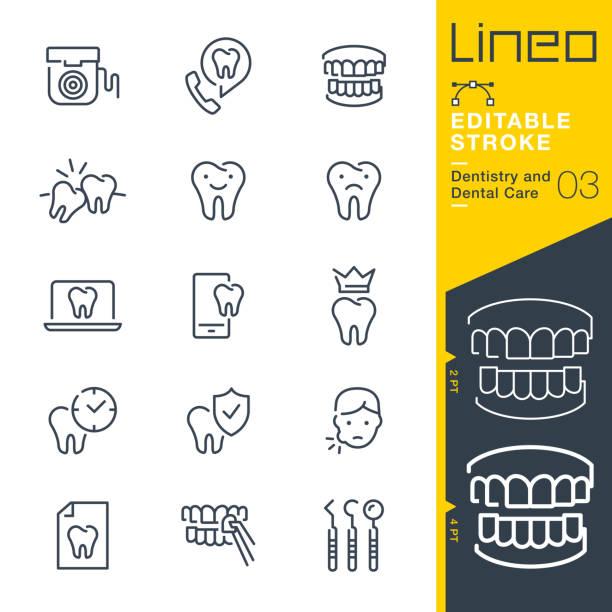 lineo editable stroke - zahnmedizin und zahnpflege linie symbole - zähne putzen stock-grafiken, -clipart, -cartoons und -symbole