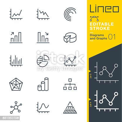 istock Lineo Editable Stroke - Diagrams and Graphs line icons 831352208
