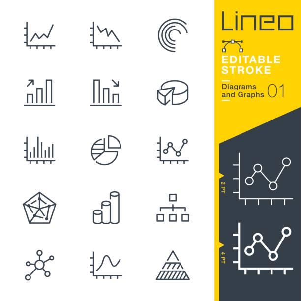 ilustrações, clipart, desenhos animados e ícones de lineo editável stroke - diagramas e gráficos de linha ícones - economia