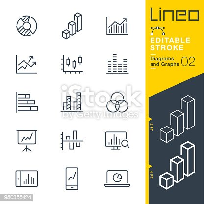 istock Lineo Editable Stroke - Diagrams and Graphs line icons 950355424