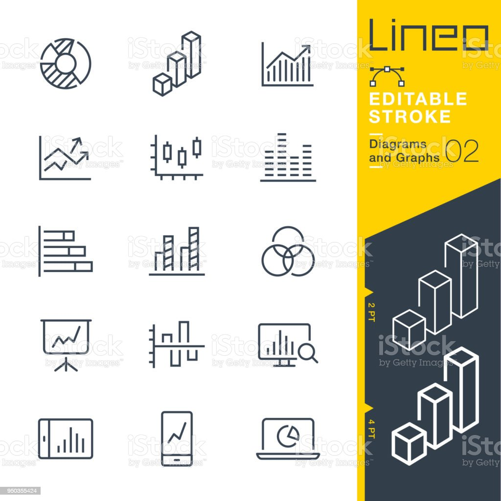 Lineo Editable Stroke - Diagrams and Graphs line icons vector art illustration