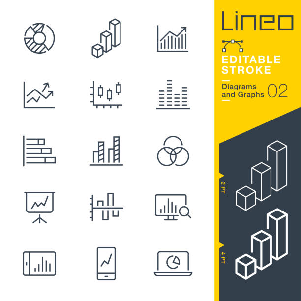 lineo editable stroke - diagrams and graphs line icons - диаграмма stock illustrations