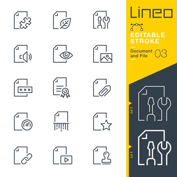 lineo editable stroke - dokument- und dateizeilensymbole - miteinander verbunden stock-grafiken, -clipart, -cartoons und -symbole
