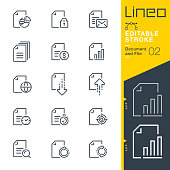 istock Lineo Editable Stroke - Document and File line icons 1169922718