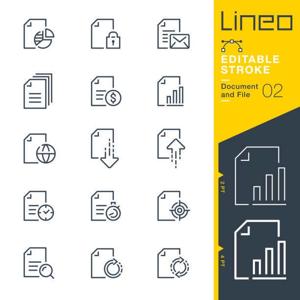 Lineo Editable Stroke - Document and File line icons Vector Icons - Adjust stroke weight - Expand to any size - Change to any colour document stock illustrations