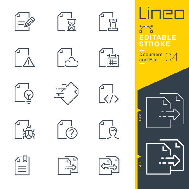 Lineo Editable Stroke - Document and File line icons vector art illustration